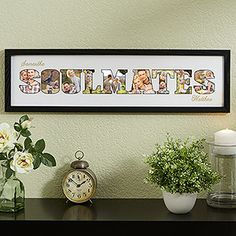 """What a beautiful wedding gift idea! It's a frame that has the word """"Soulmates"""" cutout so you can put pictures inside the letters ... plus you can add the couple's names above and below it ... such a cute gift idea! Love it! #WeddingGift #Soulmates #Romantic"""