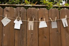 """What a cute idea. """"Decoratively air out the guest(s) of honor's """"dirty laundry"""" at your next party by having attendees jot funny stories about the honoree on note cards shaped as t-shirts, tank tops, pants, and skirts."""""""