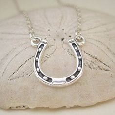 Lucky SIlver Horseshoe Necklace - Sterling Silver Jewelry - Silver Horse Shoe Necklace via Etsy