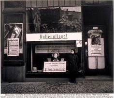 Window display with skull measuring device circa 1933.