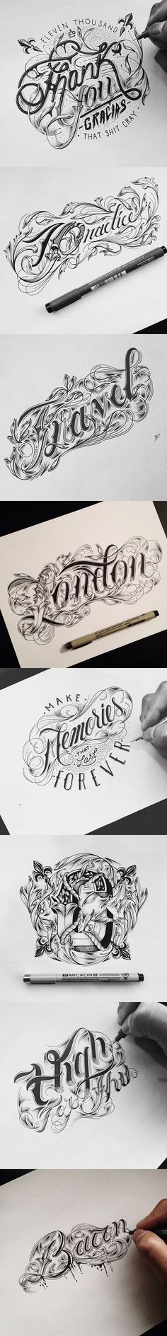 ~ Typography by Raul Alejandro ~ Calligraphy Letters, Typography Letters, Typography Logo, Graphic Design Typography, Lettering Design, Types Of Lettering, Brush Lettering, Typographie Fonts, Hanya Tattoo