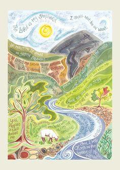 Hannah Dunnett Psalm 23 art print US version. Lots of other beautiful verse art prints too! Scripture Art, Bible Art, Bible Scriptures, Christian Greetings, Christian Greeting Cards, Psalm 23, L Death, Lord Is My Shepherd, The Good Shepherd
