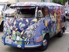 Hippie Van! I used to own a '64 VW red and white van with denim curtains, a tapestry on the ceiling, a fold down double bed and 8 speakers!! It went through 3 motors and was always in the shop, but I lover her!!