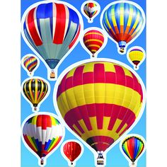 "Hot Air Balloon - Window Cling. Each Measures 12"" x 17"" and is totally reusable."