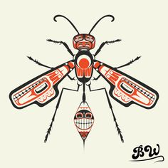 The Wasp - Olympia Graphics Company Native American Animals, Native American Wisdom, Native American Design, American Indian Art, Arte Tribal, Tribal Art, Animal Drawings, Art Drawings, Totem Tattoo