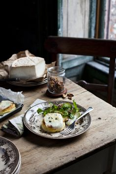 Knockdrinna goats cheese soufflé with shaved pears and walnuts | FeastDinnerJournal.com