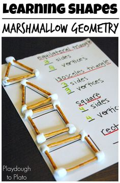 Drawing In Marshmallow Geometry is such a fun activity for kids in Kindergarten, grade, grade, and grade. Math is FUN! - Marshmallow Geometry is a fun way to teach the names and characteristics of shapes. Learning Shapes, Learning Spanish, Spanish Lessons, Second Grade Math, Grade 2, Third Grade, Sixth Grade, Homeschool Math, Homeschooling