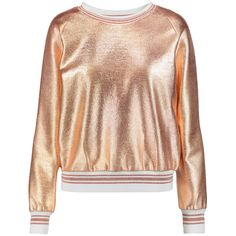 Raoul Metallic jersey sweatshirt featuring polyvore, women's fashion, clothing, tops, hoodies, sweatshirts, gold, raoul, white jersey, cut loose tops, white sweatshirt and loose white top
