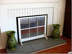 Window sash fireplace screen - mirror spray paint on back
