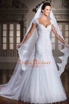 2015 Off The Shoulder Mermaid/Trumpet Wedding Dresses Pleated Bodice Tulle