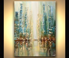 "Modern 40"" ORIGINAL City Lights Acrylic Painting Signed Modern Palette Knife Acrylic Abstract Downtown by Osnat"