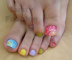 Solid Multi-Color pastel toes with accent hand painted white daisy flowers on the big toe hand painted nail art