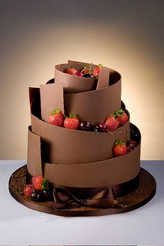 Chocolate Twist | Three tier cake wrapped with Belgian choco… | Flickr