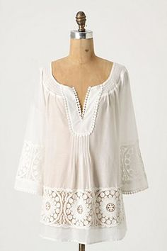 Filtered Light Tunic-i bought this for the summer from Anthropologie-favorite purchase-with white, linen pants or as a cover-up