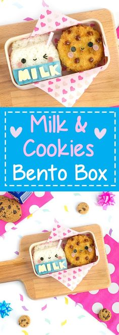 Milk & Cookies Bento Box - Made from rice and potato korokke, this milk & cookies bento box may just be the cutest lunch ever! Find out the secret kitchen hack used to easily shape the rice, + how to dye food blue NATURALLY in under 10 seconds   loveatfirstbento.com