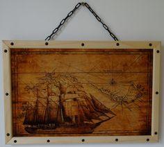 Cadre impression sur bois - Carte bateau pirate - Artisanat,  45x30x3 cm ©2016 par Thomas CHATAIN -                                                        Bois, Bateau, Navires, Bateau pirate, Pirates, Impression bois, Carte marine, Map, Cadre bois