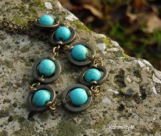 Planetky - náhrdelník z tyrkenitu náhrdelník dárek přírodní ketlovaný minerály tyrkenit Turquoise Bracelet, Bracelets, Rings, Jewelry, Fashion, Moda, Jewlery, Jewerly, Fashion Styles