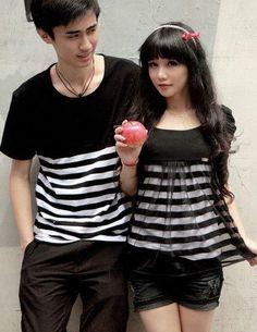 85090fbb9e14 Korean stripe T-shirt and sleeveless dress couple shirt. See more. Black  and white sexy  matching lovers. - juntoslubricants.com Matching Shirts