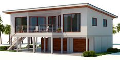 Home Plan Modern House Plan to Modern Family. Colonial House Plans, New House Plans, Modern House Plans, Beach House Floor Plans, Coastal House Plans, House On Stilts, House Roof, Sims Building, Forest House