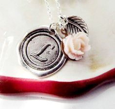 Bridesmaid Initial Stamped Pendant Monogrammed by 4Everinstyle, $30.00
