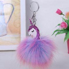 Girls Purple Fluffy Unicorn Backpack Keychain Clip