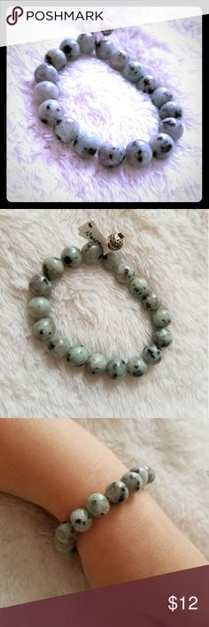 """Bracelet Boho Gypsy stretchy beaded gemstone gray Beautiful,natural, great, quality gemstones beaded on thick elastic band.  Decorated with silver plated vintage style Bali beads.  7""""  Lotus Jasper the Queens Hand by Naya Jewelry Bracelets"""