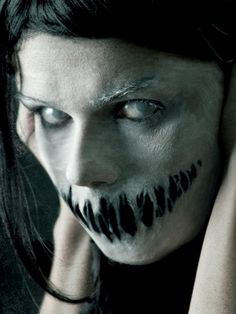Scary freak makeup for Halloween! I would darken the eyes a lot so I wouldn't need to buy contacts.