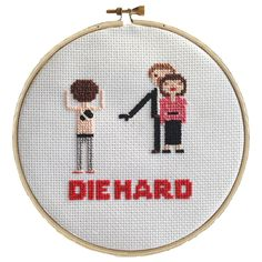 """Laura O'Connor. Die Hard, Cross-stitch for Crime Watch poster, embroidery thread, cloth and hoop, 6""""x6"""" . $200"""