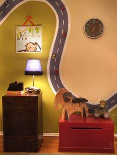 boys room wall with car track
