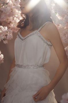 Discover our new bridal collection, 'Fallen For You', featuring tiered ruffle wedding gowns, embellished wedding dresses and soft ombre ballerina length skirts. Sequin Midi Dress, Sequin Gown, Tulle Hair Bows, Needle And Thread Dresses, Traditional Gowns, Stylish Sarees, Maxi Gowns, Bridesmaid Dresses, Wedding Dresses