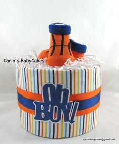 Basketball diaper cake  Mini diaper cake  Boy by MsCarlasBabyCakes