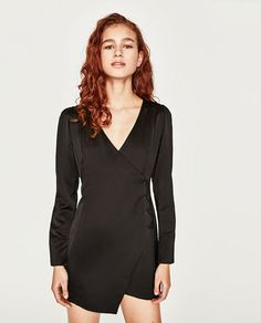 b893d0f0b87a2 Image 4 of GLOSSY EFFECT CROSSOVER DRESS from Zara Glossier