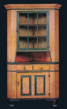 CORNER CUPBOARD / artist unidentified, Mahantango or Schwaben Creek Valley, Pennsylvania, c. 1830, paint on wood, 87 x 48 x 28 in., American Folk Art Museum, gift of the Lipman Family Foundation in honor of Jean and Howard Lipman, 1999.8.12, photo by John Parnell