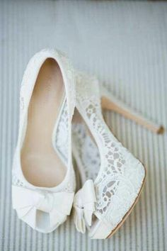 Lace wedding shoes.