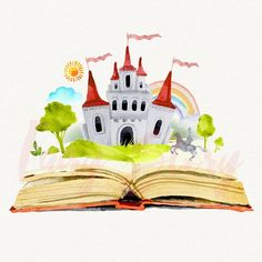 Watercolor open book with a castle background Premium Vector My Happy Ending, Castle Background, Present Wrapping, Library Displays, Open Book, Journal Covers, Grandchildren, Grandkids, Scrapbook Pages