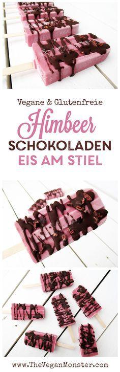 Vegane Glutenfreie Milchfreie Himbeer Schokoladen Eis am Stiel Rezept
