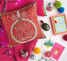 Christmas products in bright colours