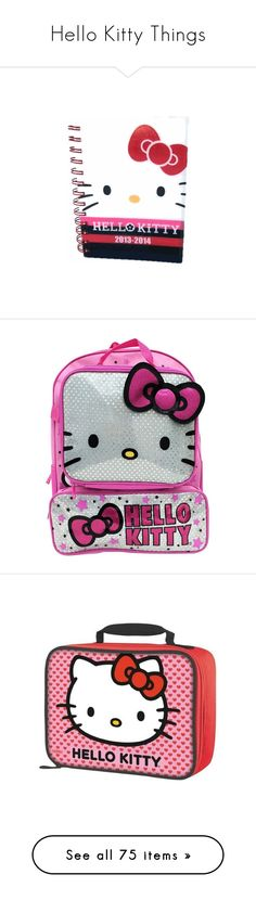 """""""Hello Kitty Things"""" by denise-drinhouser ❤ liked on Polyvore featuring home, home decor, stationery, bags, backpacks, hello kitty bag, knapsack bag, rucksack bags, backpack bags and hello kitty"""