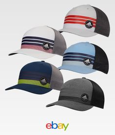 79c48be23b4 Adidas Golf 3-Stripes Trucker Adjustable Snapback Cap MOISTURE WICKING. eBay  · Grads Dads-Hats
