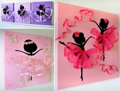 DIY Tutu Ballerina Canvas Wall Art Tutorial, with ribbons, canvas, and a ballerina template. great for girl room decoration or gift delivery Kids Canvas, Canvas Wall Art, Canvas Ideas, Bedroom Canvas, Ballerina Kunst, Shoe Box Lids, Crafts For Kids, Arts And Crafts, Diy Tutu