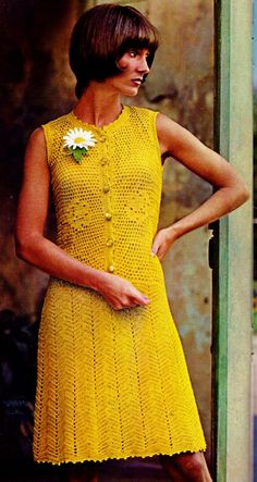 Sleeveless Lace Dress with Yellow Roses PDF Crochet Pattern by MomentsInTwine on Etsy