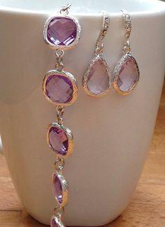 Light purple/ violet/ lilac framed crystal bracelet by PetalJewels