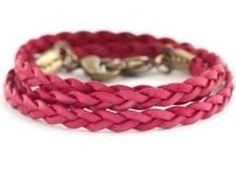 Raspberry Braided Wrap Bracelet