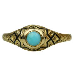 1stdibs | Victorian Gold Turquoise and Enamel Mourning Ring