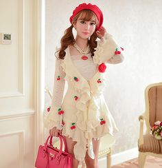 Cute sweet flouncy sleeves cherry mohair sweater coat