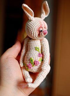 Bunny Rose - Blooming Bears Black Glass, 5 Ways, Crochet Toys, Bears, Organic Cotton, Dinosaur Stuffed Animal, Bunny, Bloom, Rose