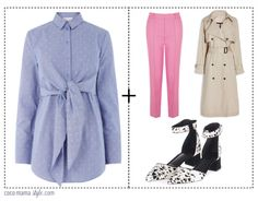 5 shirts to wear now - and how to style them - coco mama style | pink trousers, monochrome shoes, mac, trench, tie waist shirt