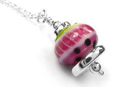 Lampwork Glass Pendant - Watermelon Glass Pendants, Glass Beads, Pendant Design, Silver Beads, Sterling Silver Jewelry, Watermelon, Indigo, Ceramics, Pure Products
