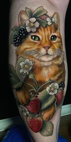Cat tattoos are cool because cats are visually appealing.They're as cute and cuddly as they are mysterious and majestic.They inspire cartoony imagery, or something a little more regal.How did these animals get into our homes, and why do we love them so much? Calf Tattoos For Women, Unique Tattoos For Women, Girls With Sleeve Tattoos, Best Sleeve Tattoos, Traditional Tattoo Design, Traditional Tattoos, Cool Forearm Tattoos, Awesome Tattoos, Cat Symbolism