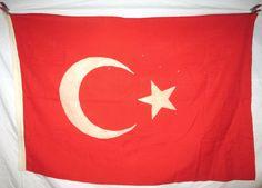 Vintage Turkish Flag 4.5 x 3 Ft Turkey Star Crescent Wool Linen With Pole Sleeve via EchoDecoModern on Etsy #turkey #turkish